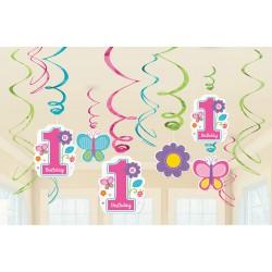 Első szülinapi parti spirális függő dekoráció kislánynak- 12 db-os