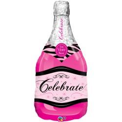 Pink Pezsgős Üveg Fólia Lufi 99 cm