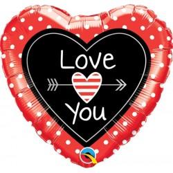 Love You Feliratos Szív Alakú Szerelmes Fólia Lufi - 46 cm