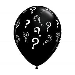 Kérdőjeles Mintás Fekete Gumi Lufi Babaszületésre- 40 cm