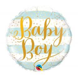 Kisfiú Babaszületésre Baby Boy feliratos fólia lufi - 46 cm