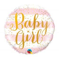 Kislány Babaszületésre Baby Girl feliratos fólia lufi - 46 cm