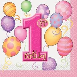 First Birthday Balloons Pink - Első Szülinapi Szalvéta - 33 cm x 33