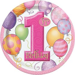 First Birthday Balloons Pink - Első Szülinapi Parti Tányér - 18 cm, 8