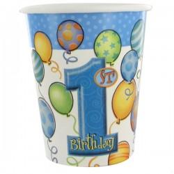 First Birthday Balloons Blue - Első Szülinapi Parti Pohár - 266 ml, 8