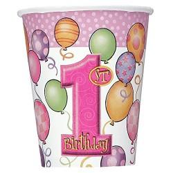 First Birthday Balloons Pink - Első Szülinapi Parti Pohár - 266 ml, 8