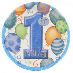 First Birthday Balloons Blue - Első Szülinapi Parti Tányér - 18 cm, 8