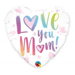 Anyák napi szív alakú héliumos fólia lufi - Love You Mom!