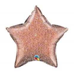 Glitteres Csillag Alakú Héliumos Fólia Lufi - rózsaarany színű