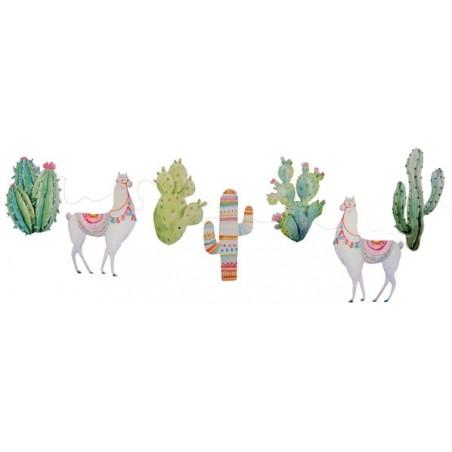 Láma és kaktusz mintás parti füzér 3 m