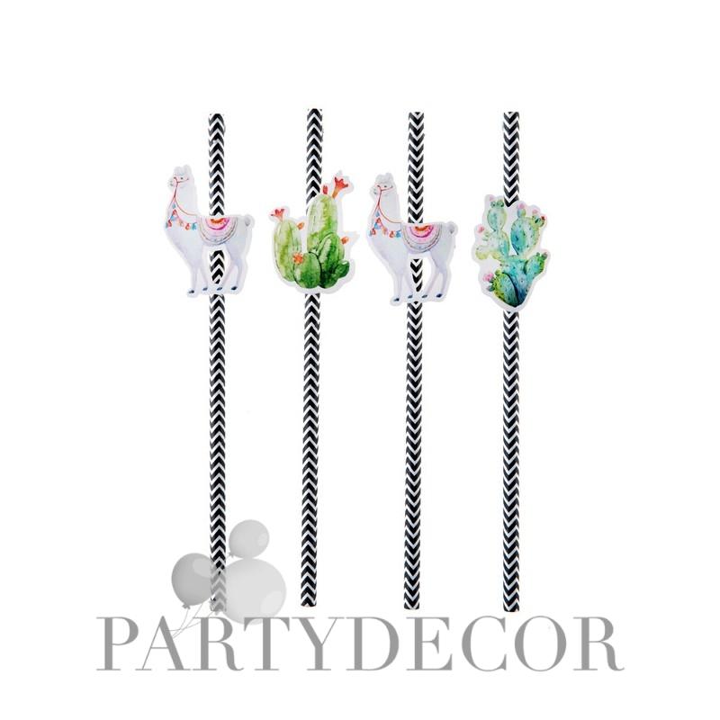 Láma és kaktusz mintás parti szívószál 8 db