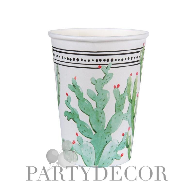 Kaktusz mintás láma parti pohár 10 db