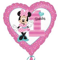 Első születésnapi Minnie egeres szív alakú fólia lufi