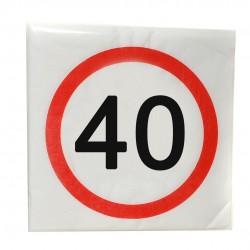 Happy Birthday 40-es Sebességkorlátozó Szülinapi Parti Szalvéta- 33 cm, 20 db-os