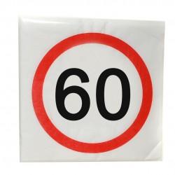 Happy Birthday 60-as Sebességkorlátozó Szülinapi Parti Szalvéta - 33 x 33 cm, 12 db-os