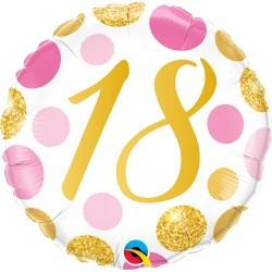 18-as számos születésnapi héliumos lufi 45 cm-es pink-arany pöttyös