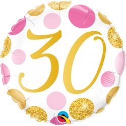30-as számos születésnapi héliumos lufi pink-arany pöttyös 45 cm-es