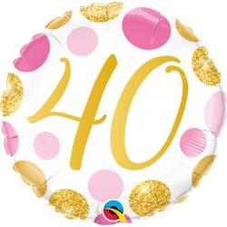 40-es számos születésnapi héliumos lufi pink-arany pöttyös 45 cm-es