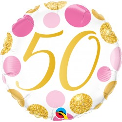 50-es számos születésnapi héliumos lufi pink-arany pöttyös 45 cm-es