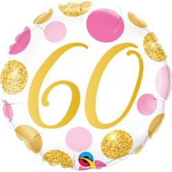 60-as számos születésnapi héliumos lufi pink-arany pöttyös 45 cm-es