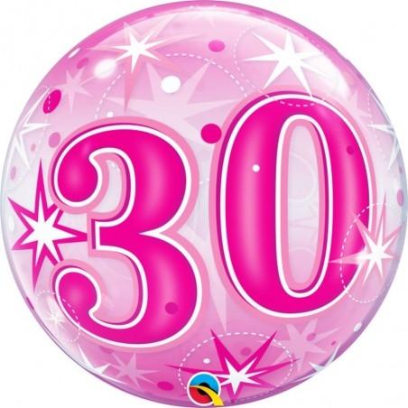 30-as Rózsaszín Csillagos Szülinapi Számos Bubble Lufi 56 cm