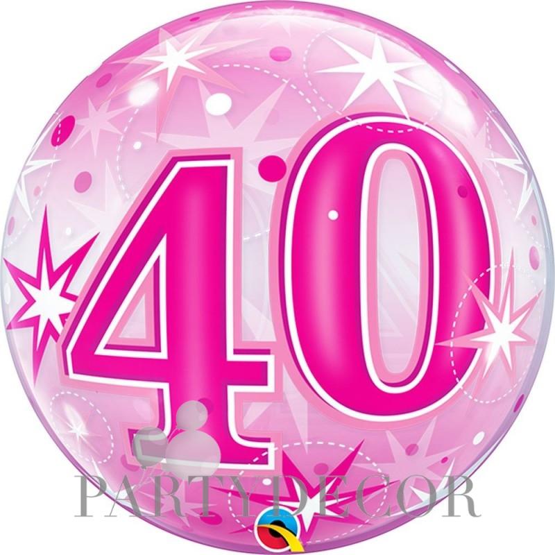 40-es Rózsaszín Csillagos Szülinapi Számos Bubble Lufi 56 cm
