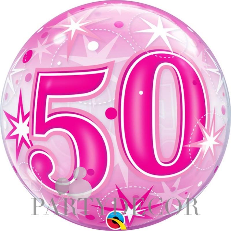 50-es Rózsaszín Csillagos Szülinapi Számos Bubble Lufi 56 cm