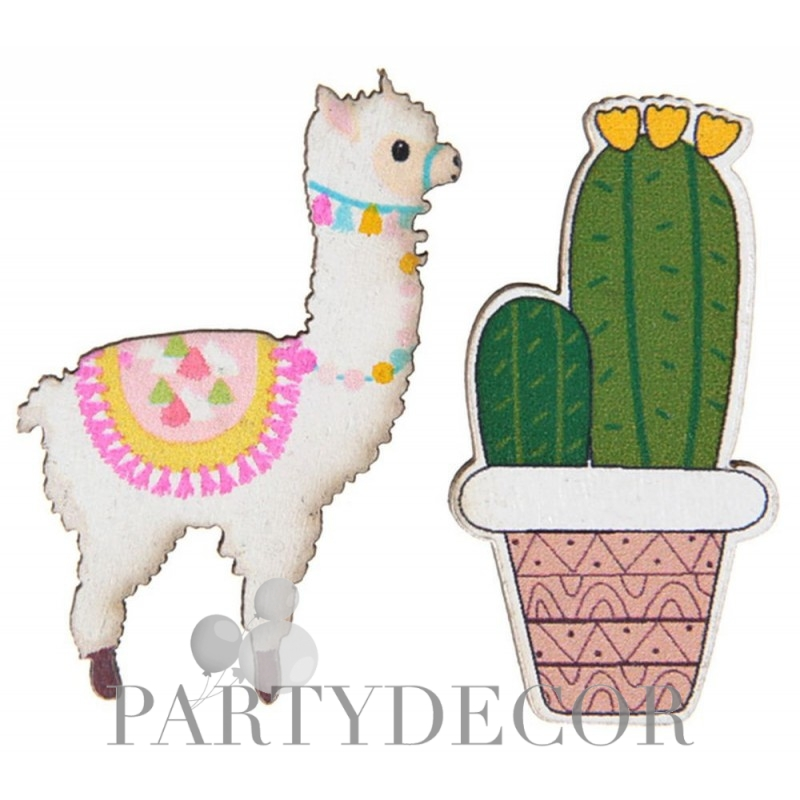 Láma és kaktusz formájú parti konfetti 18 db