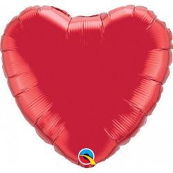 18 inch-es Rubinvörös - Ruby Red Szív Fólia Lufi