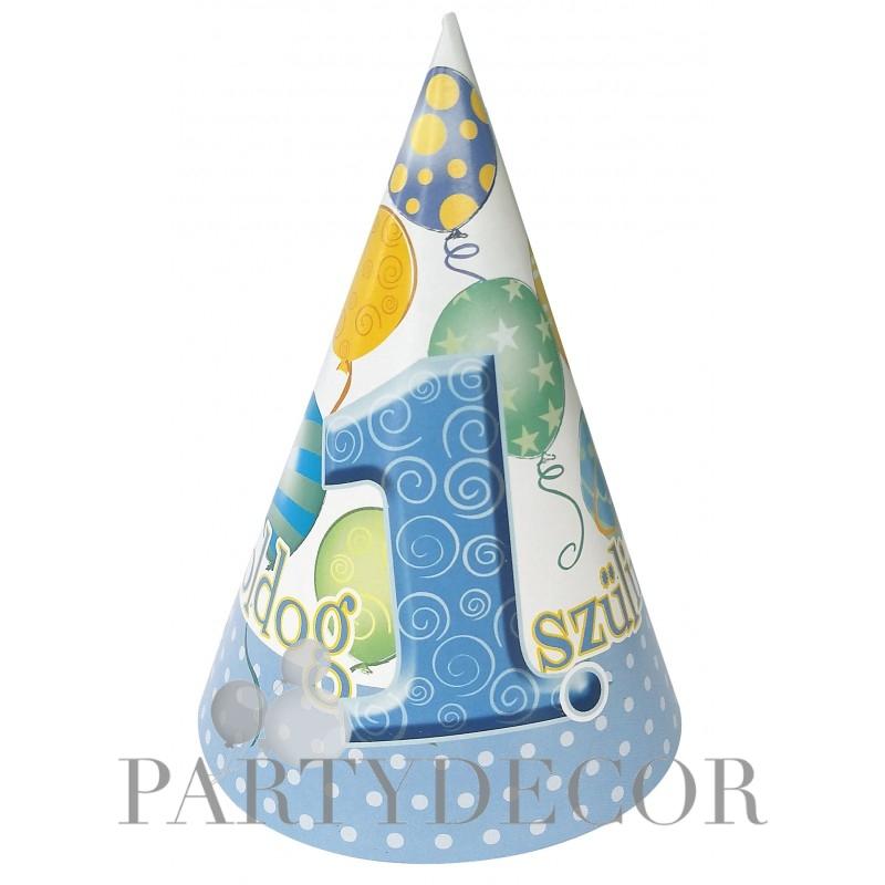 Boldog 1 Szülinapot Lufis Kék Szülinapi Parti Kalap - 6 db-os