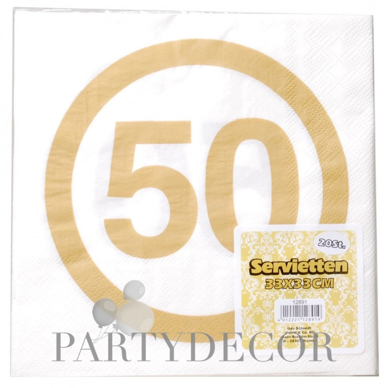 Happy Birthday 50-es Sebességkorlátozó Arany Szülinapi Parti Szalvéta - 33 x 33 cm, 20 db-os