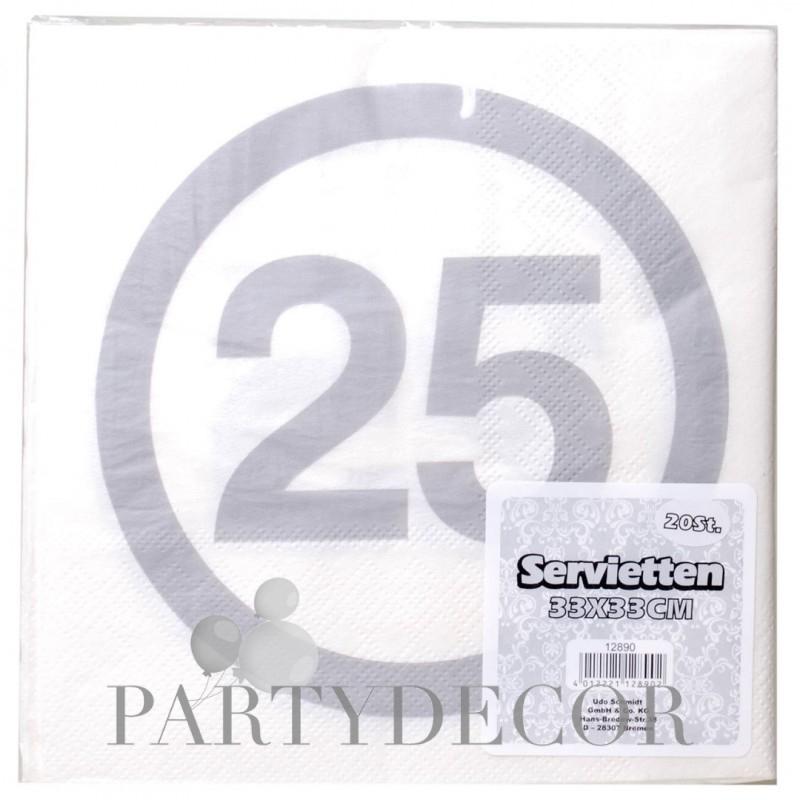 Happy Birthday 25-ös Sebességkorlátozó Ezüst Szülinapi Parti Szalvéta - 33 x 33 cm, 20 db-os