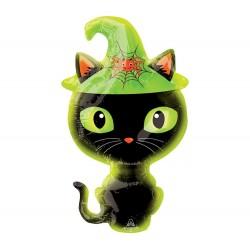 Fekete macska fólia lufi Halloweenre