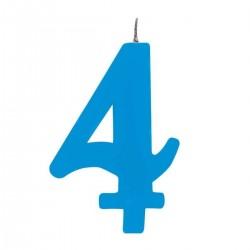 4-es Csillagszórós Kék Szülinapi Szám Tortagyertya