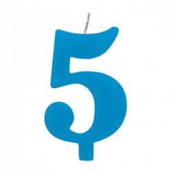 5-ös Csillagszórós Kék Szülinapi Szám Tortagyertya