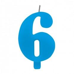 6-os Csillagszórós Kék Szülinapi Szám Tortagyertya