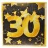 30-as Arany És Fekete Szülinapi Parti Szalvéta- 33 cm, 20 db-os