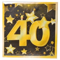 40-es Arany És Fekete Szülinapi Parti Szalvéta - 33 cm, 20 db-os