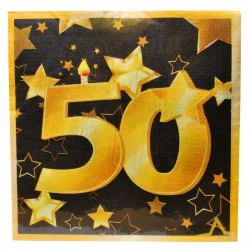 50-es Arany És Fekete Szülinapi Parti Szalvéta - 33 x 33 cm, 20 db-os