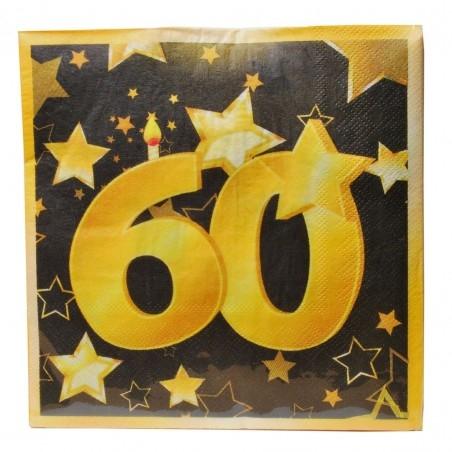 60-as Arany És Fekete Szülinapi Parti Szalvéta - 33 x 33 cm, 20 db-os