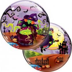 Boszorkány Seprűn Bubble Lufi Halloweenre - 56 cm