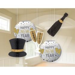 Szilveszteri méhsejt függő dekorációs szett 5 db-os Happy New Year