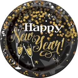 Happy New Year Mintás Parti tányér Szilveszterre - 8 db-os