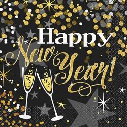 Glitteres, Happy New Year Szalvéta Szilveszterre - 33 x 33 cm, 16 db-os