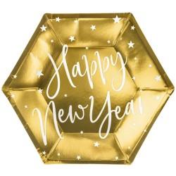 Arany színű Happy New Year feliratos tányér Szilveszterre, 6 db-os