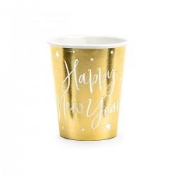 Arany színű Happy New Year feliratos pohár Szilveszterre, 6 db-os