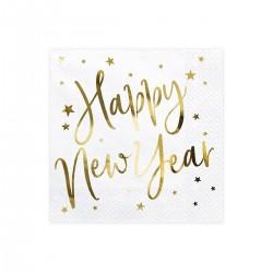 Arany színű Happy New Year feliratos szalvéta Szilveszterre, 20 db-os