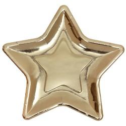 Arany parti tányér csillag alakú 10 db-os