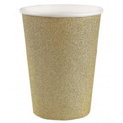 Arany csillámos parti pohár 10 db-os