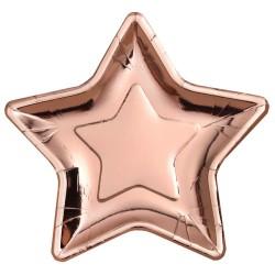 Rosegold -rózsaarany parti tányér csillag alakú